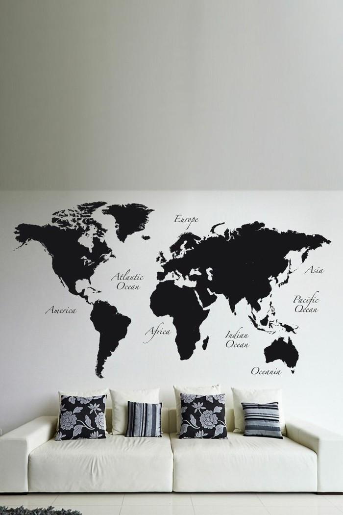 weltkarte wand wandmalerei wohnzimmer schwarz weiß
