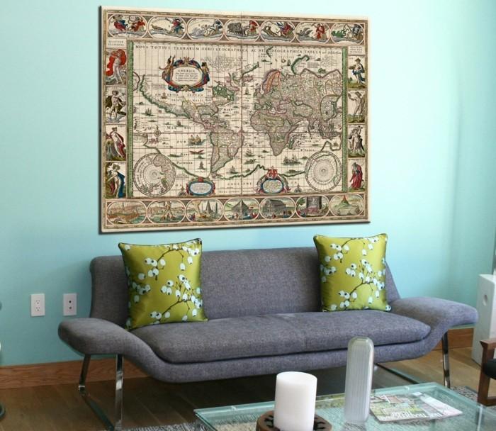 weltkarte wand wohnzimmer dekoideen frische wandfarbe retro sofa