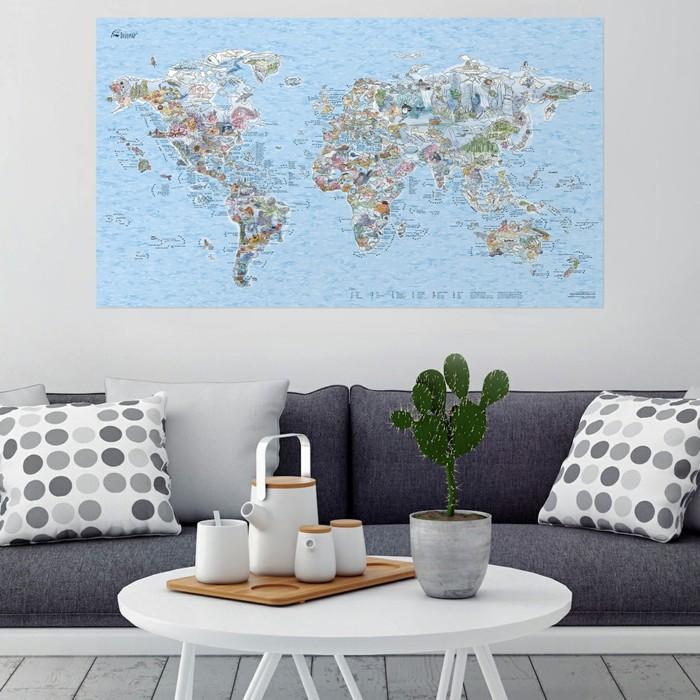 weltkarte wand wohnzimmer dekoideen modernes wanddesign stilvolle dekokissen