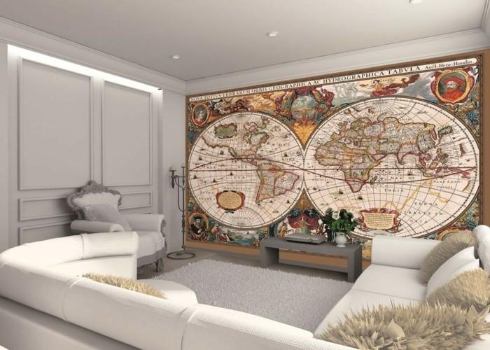 weltkarte wand wohnzimmer dekorieren akzentwand ideen