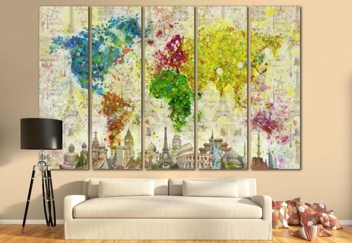 weltkarte wand wohnzimmer farbige wanddeko leinwand