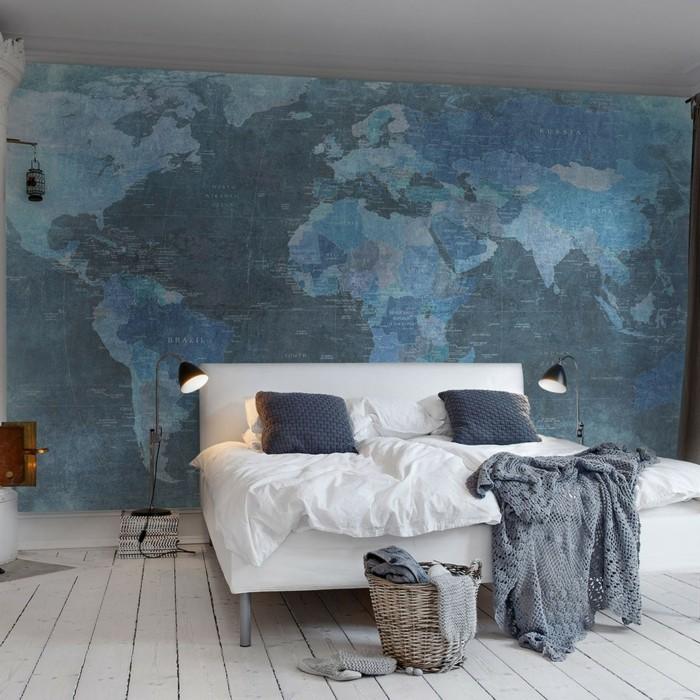 weltkarte wand wunderschöne wandgestaltung schlafzimmer dielenboden