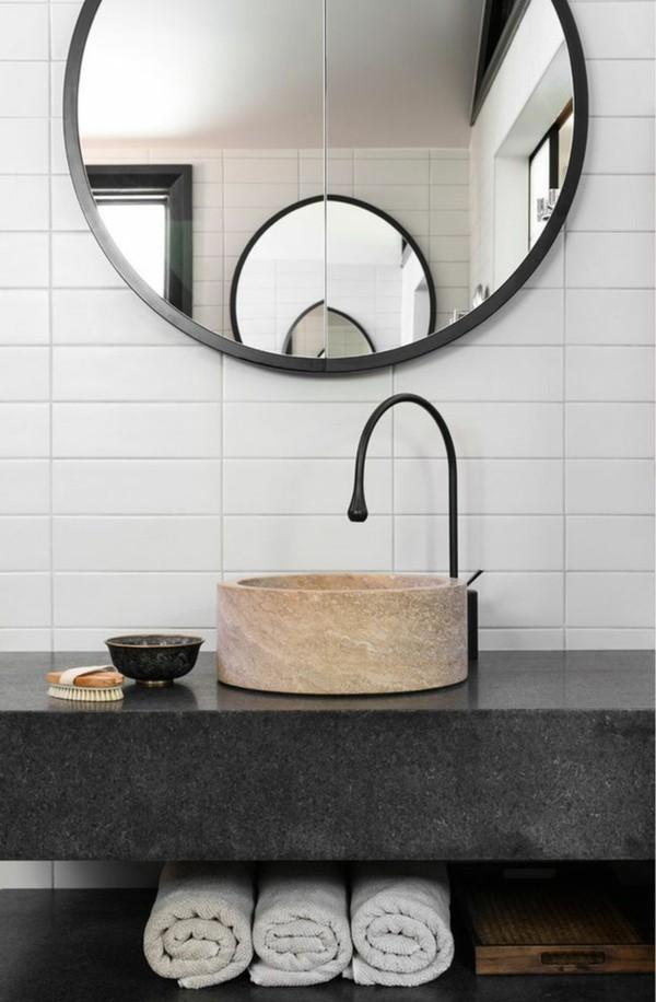 Badezimmerdesign schwarzer Spülbecken
