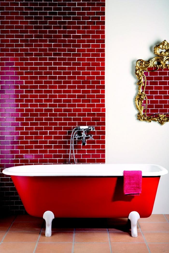 Bordeaux Farbe Wandfarbe badezimmer