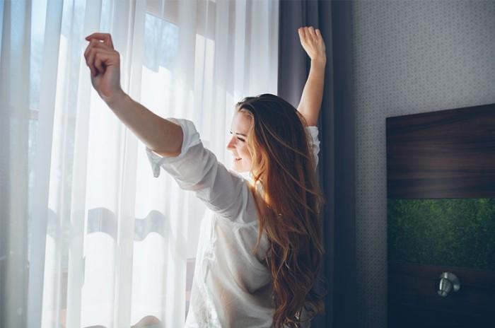 Dehnen guten Morgen Routine gute Laune haben