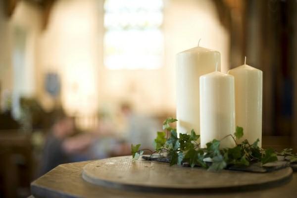 Drei Kerzen Hochzeitsdeko