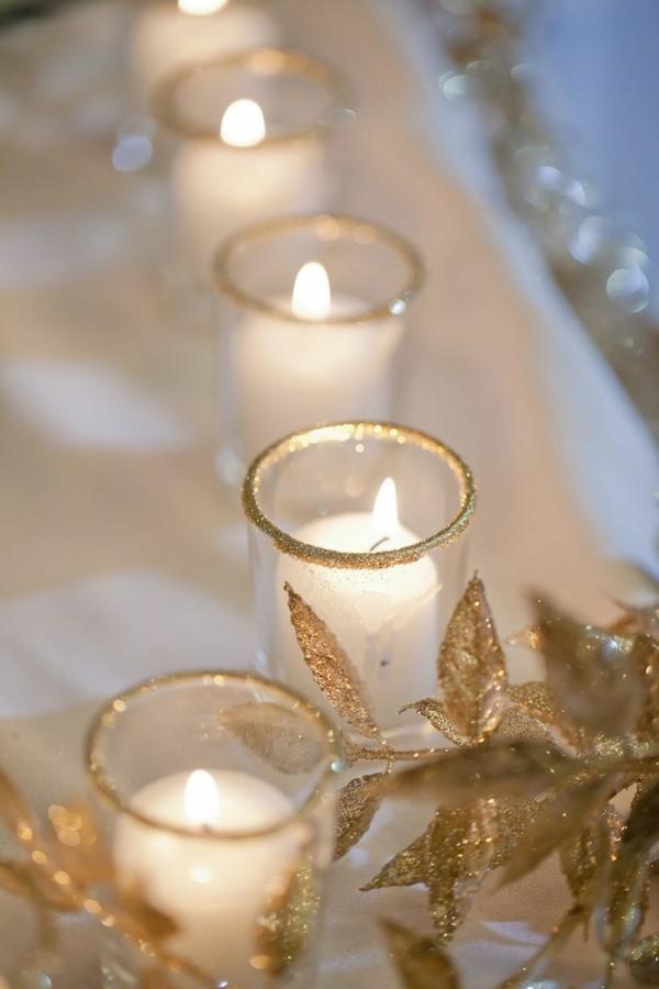 Gold weiße Hochzeitskerzen selber machen
