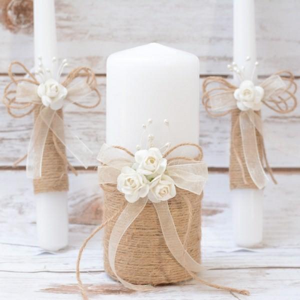 Hochzeitskerze selber machen gold und weiß