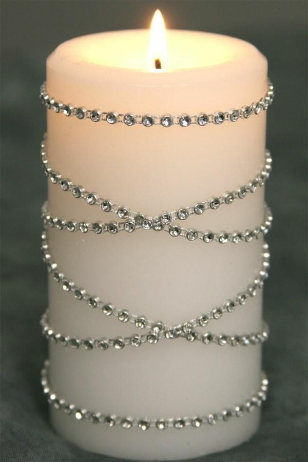Kerze gestalten silber Ornamente