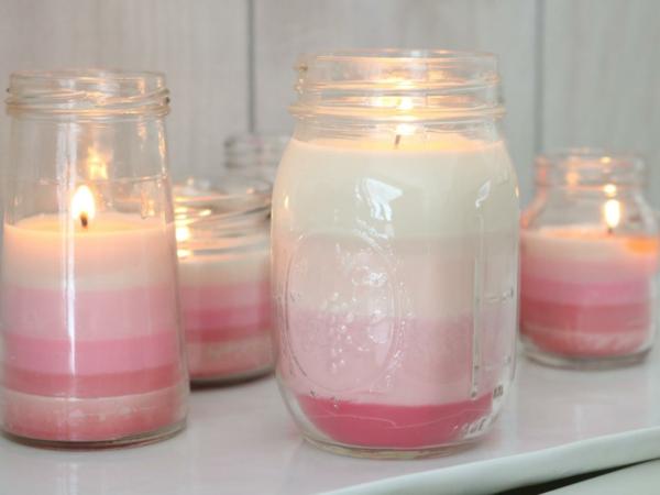 Kerzen gestalten in weiß und Rosa