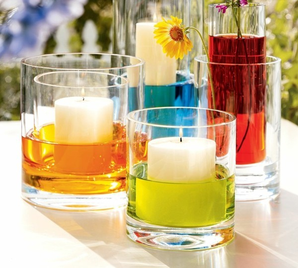Kerzen selber machen Glas und verschiedene Farben