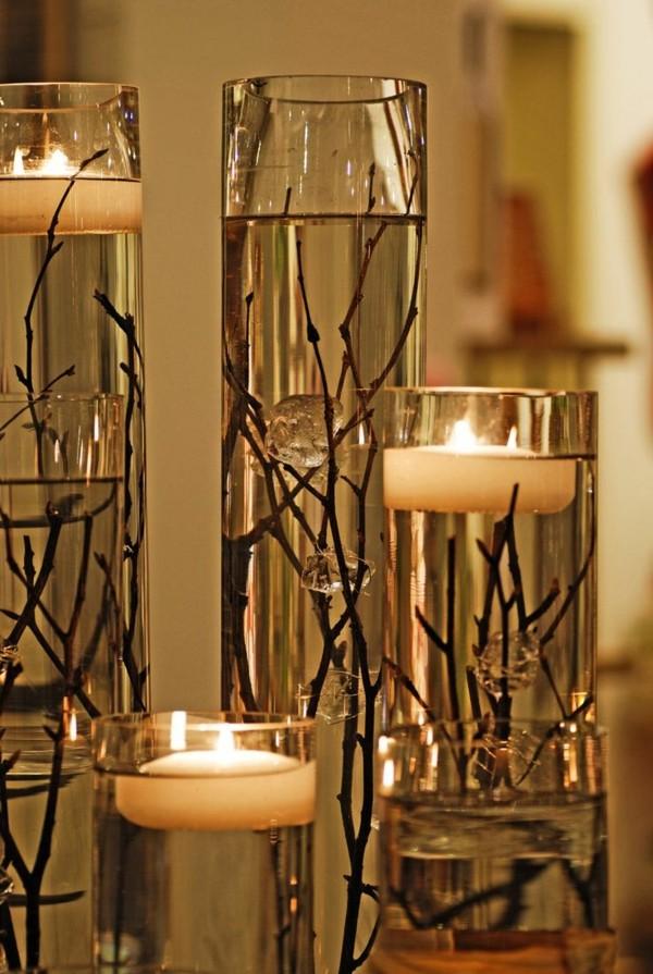 Kerzen selber machen Wasser und Baumzweige