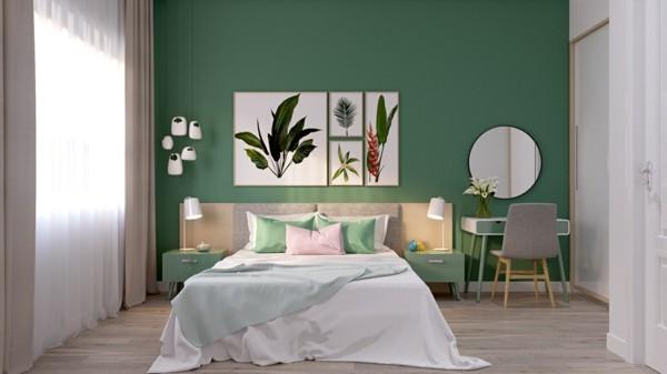 Pastellgrün Wandfarbe auffällige Wand