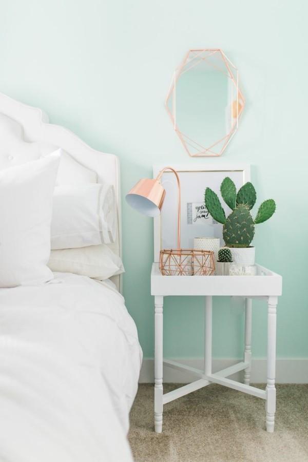 Pastellgrün Wandfarbe besänftigend im Schlafzimmer