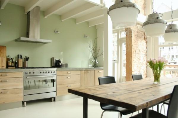 Pastellgrün Wohnideen Küche mit offenem Wohnplan