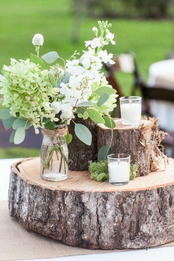 Rustikale Dekoration mit Hochzeitskerzen selber machen