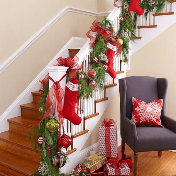 Weihnachtsdeko Treppenhaus