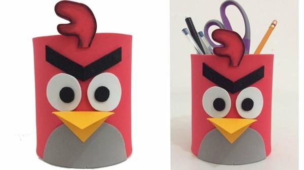 angry birds stiftehalter selber machen aus klopapierrollen
