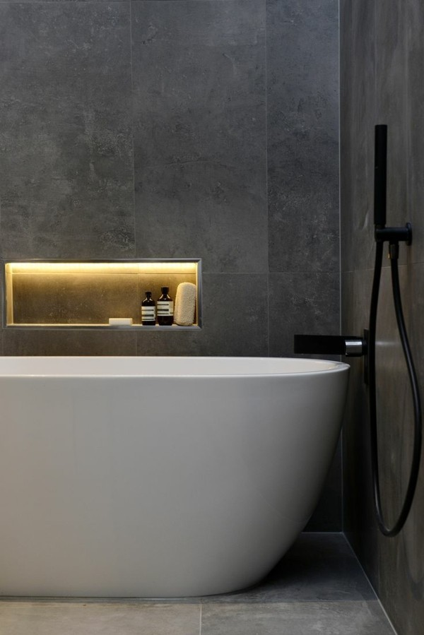 Badezimmer Ideen Grau Und Weiß
