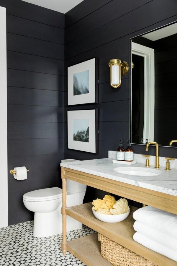 Badezimmer Ideen Holzfläche Schwarzes ...