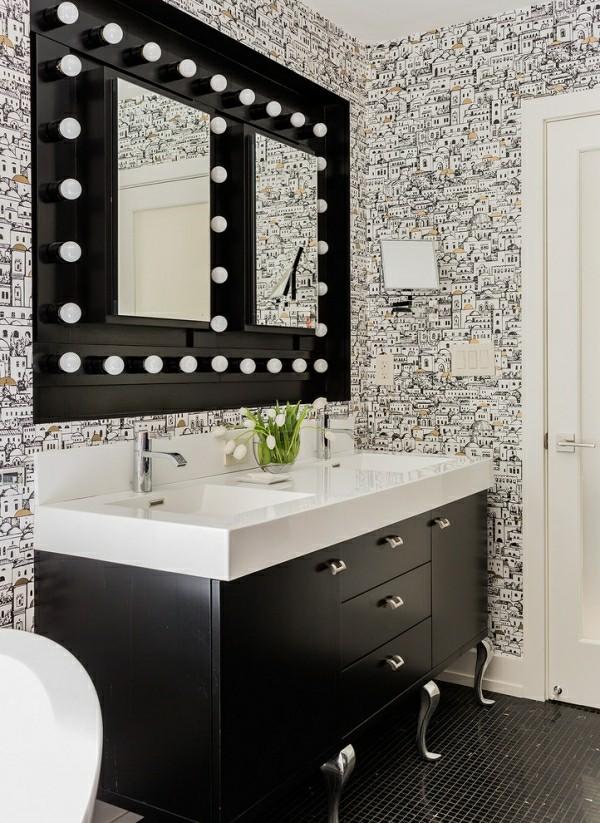badezimmer schwarz Kommode und weiß