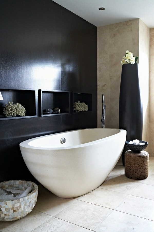 badezimmer schwarz beige weiß