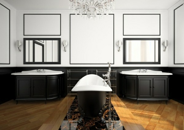badezimmer schwarz und weiß klassisch