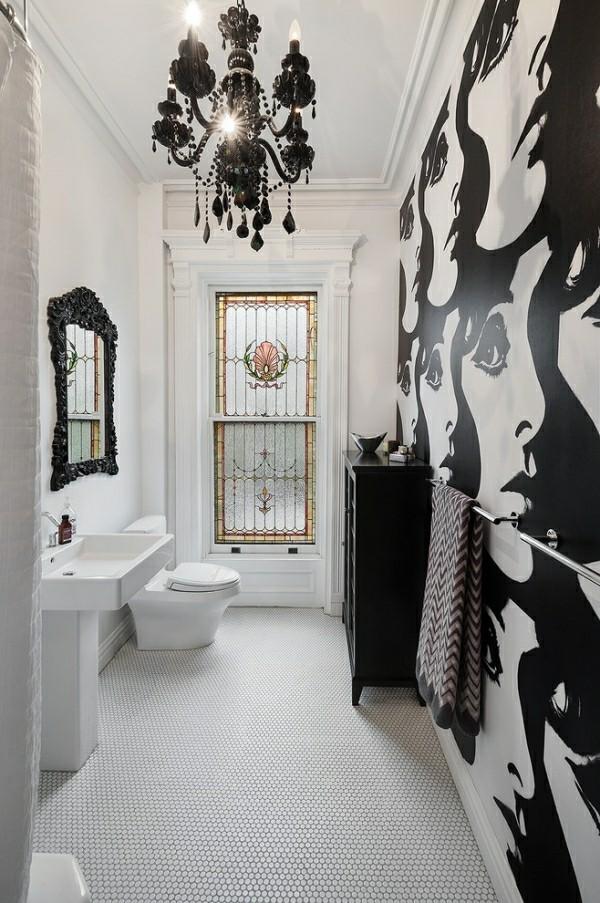 badezimmer schwarz und weiß pop art