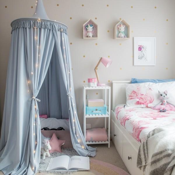 baldachin kinderzimmer schönes mädchenzimmer spiel baldachin lichterkette