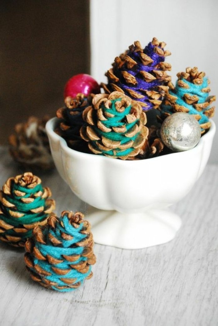 baslten mit zapfen weihnachtsdeko mit garn selber machen