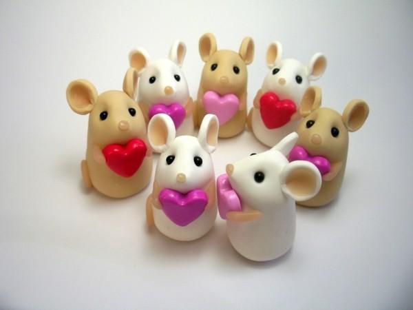 Basteln Mit Fimo Kleine Mäuse Mit Herzen