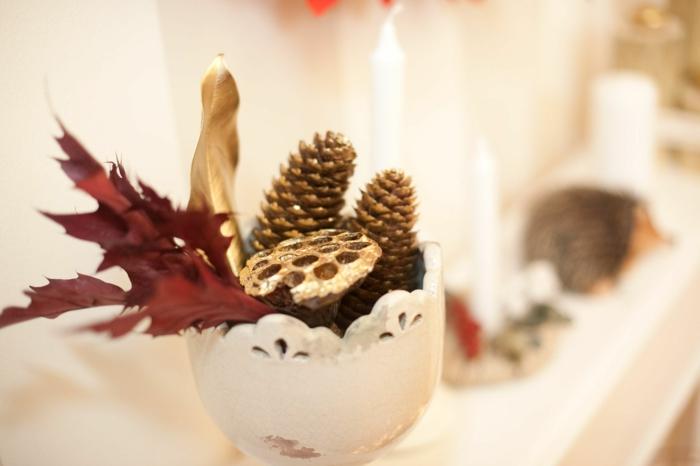 basteln mit zapfen weihnachtsdeko advent dekoration ideen