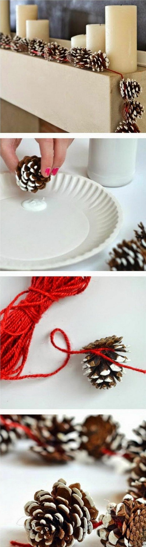 basteln mit zapfen zu weihnachten deko selber machen