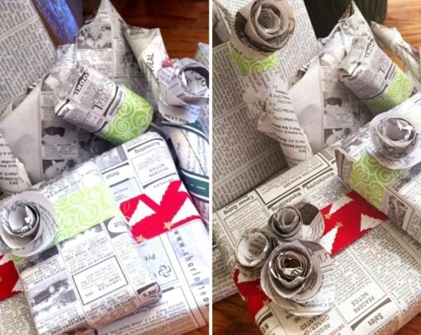 basteln mit zeitungspapier geschenke umwickeln dekorieren