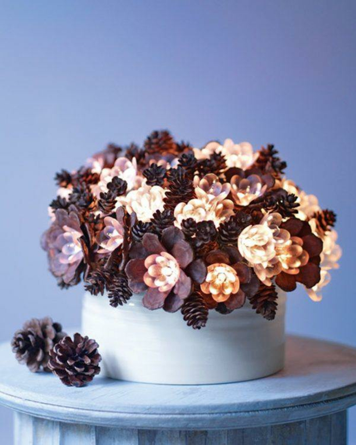 beleuchtung lichter basteln mit zapfen zu weihnachten