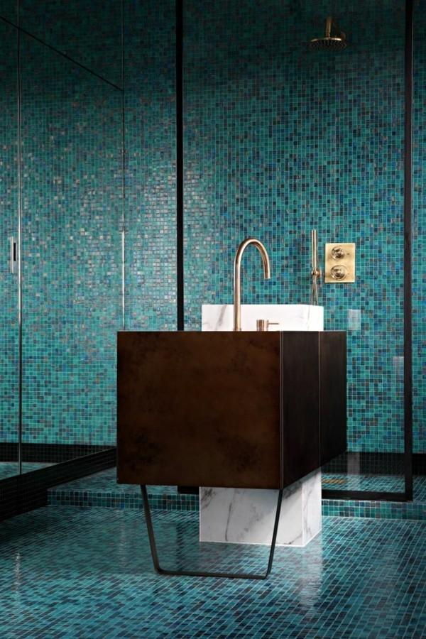 blaue badezimmer ideen dunkler spülbecken