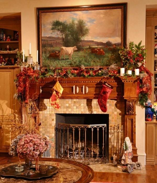 brauner weihnachtskamin weihnachten kamin deko grüne deko