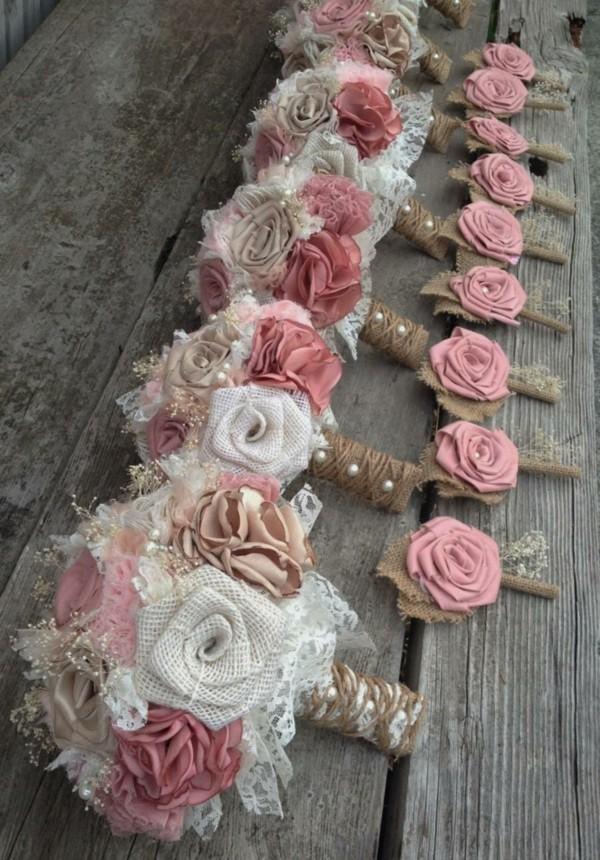 brautstrauß shabby chic deko selber machen mit perlen rosen rupfen
