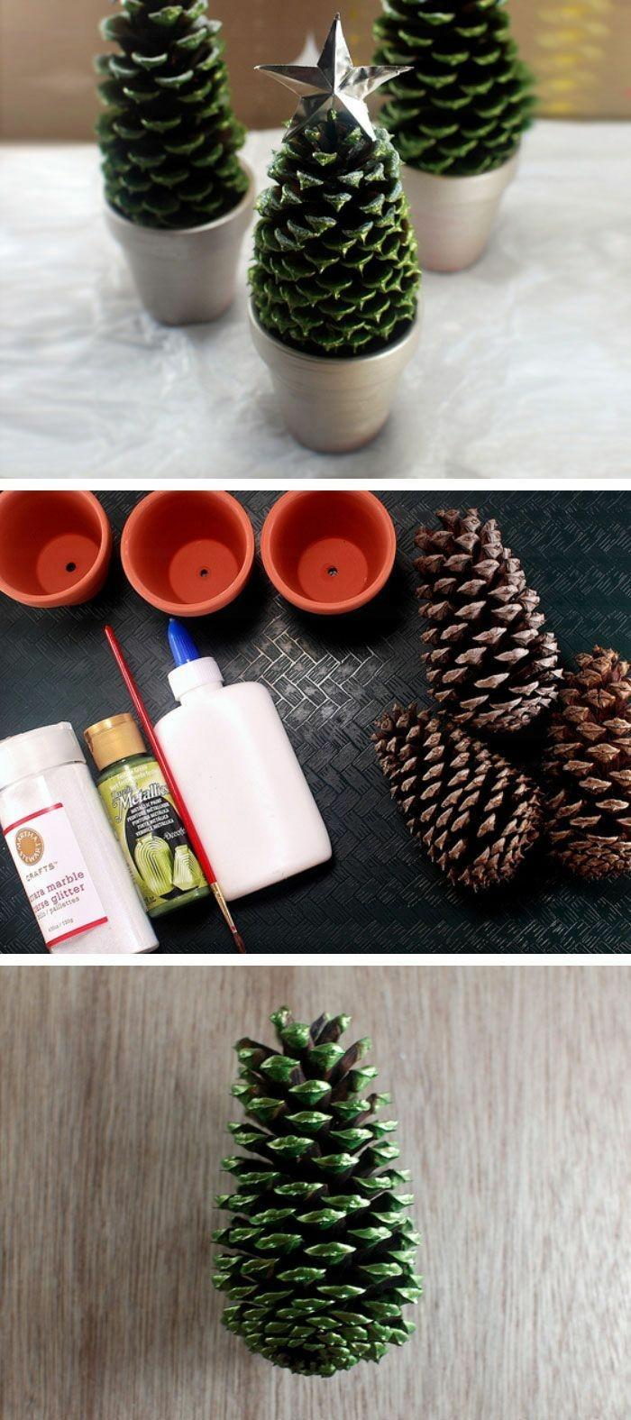 christbäume deko selber machen basteln mit zapfen