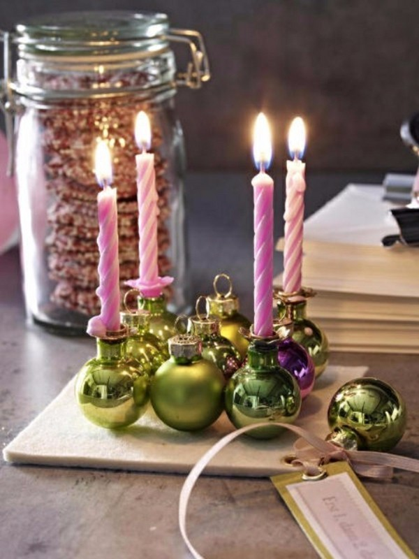christbaumschmuck kleine kerzen adventskranz selber machen