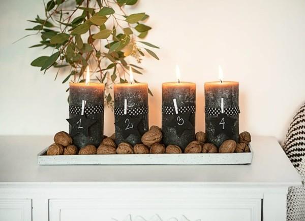 dunkle stumpenkerzen adventskranz selber machen wallnüsse