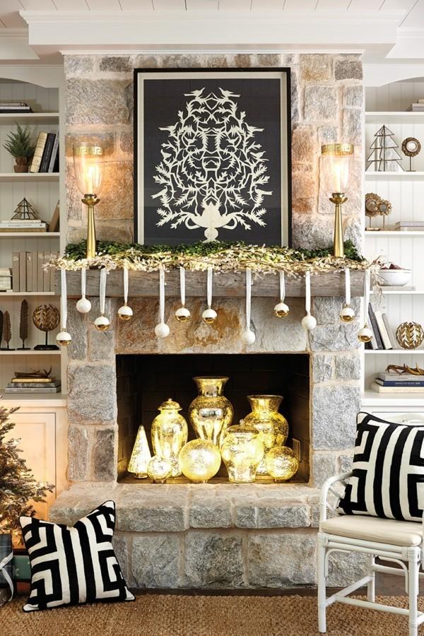 edle weihnachtskamin dekorieren deko stilvoll