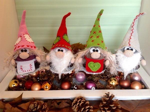 gehäkelte wichtel basteln als weihnachtsdeko