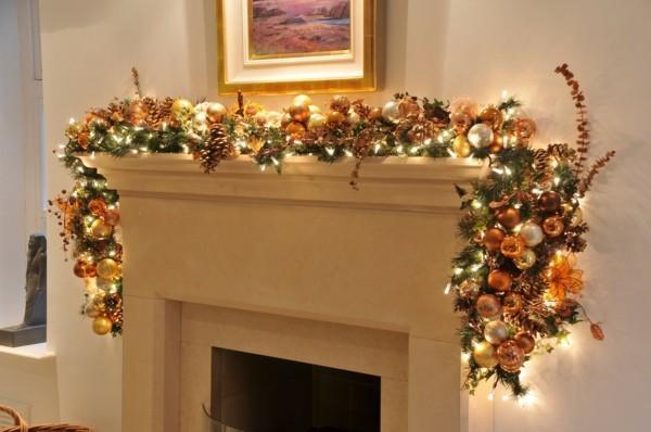 girlande weihnachtskamin weihnachtsdeko tolle zweige