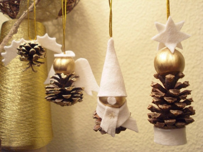 gold gefärbte tannenzapfen christbaumschmuck ideen basteln mit zapfen