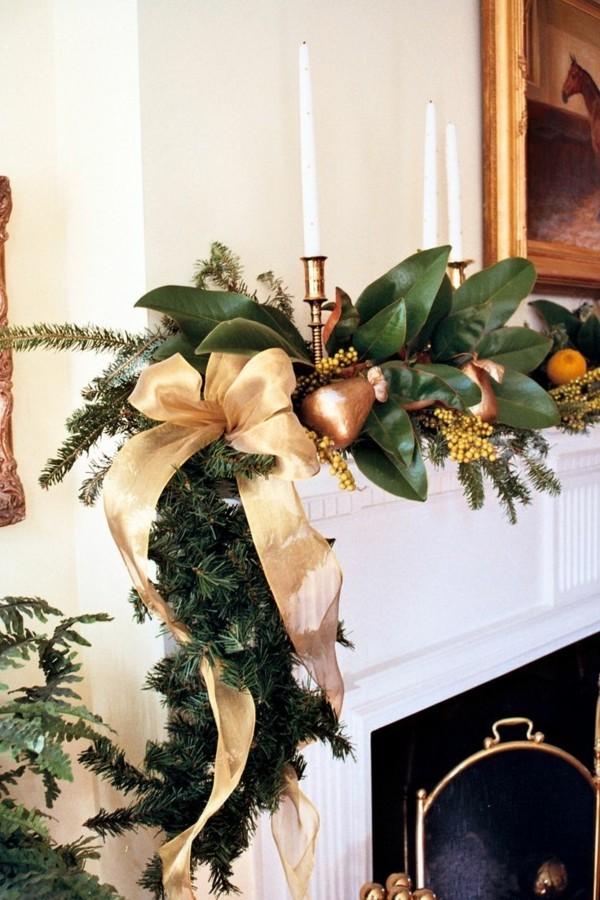 grüne zweige weihnachtskamin dekorieren deko glanzvoll