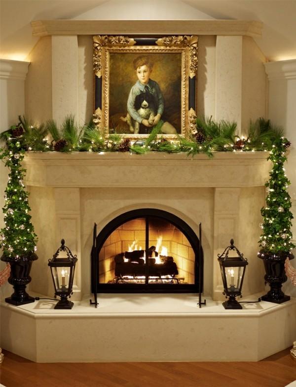 grüner weihnachtskamin weihnachten kamin deko festliche girlande