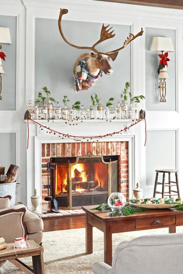 hirschkopf weihnachtskamin dekorieren deko ansprechend