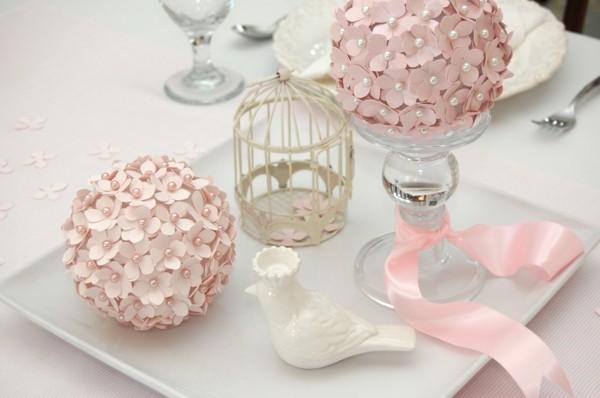 hochzeitstisch rosa blumen shabby chic deko selber machen