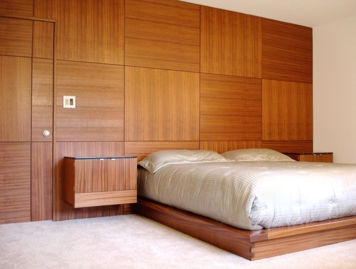holzverkleidung behagaliches schlafzimmer wanddesign
